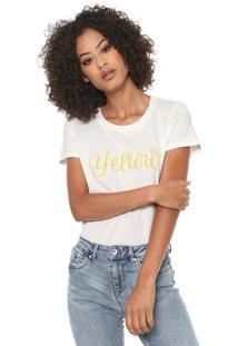 Camiseta Vero Moda Estampada Off-White