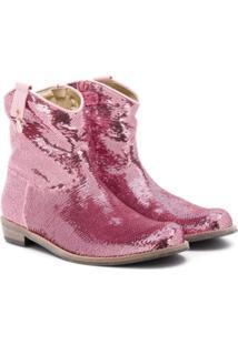 Monnalisa Ankle Boot Com Aplicação De Paetês - Rosa