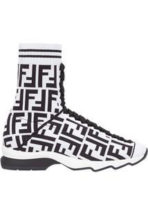 Fendi Tênis Meia Com Logo - Branco