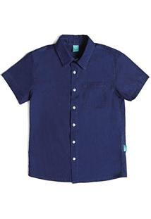 Camisa Infantil Jokenpô Cambraia Masculina - Masculino-Azul+Cinza