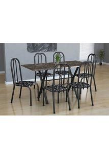 Conjunto De Mesa Miame Com 6 Cadeiras Madri Preto Prata E Preto Floral