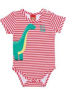 Body Kyly Menino Dinossauro Vermelho