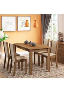 Conjunto Sala De Jantar Rosa Madesa Mesa Com 4 Cadeiras Marrom - Tricae