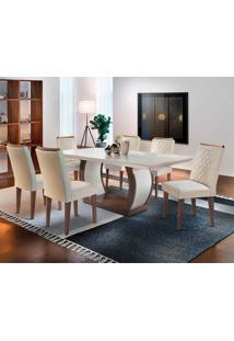 Conjunto De Mesa De Jantar Com 6 Cadeiras Estofadas Maia Ii Veludo Off White E Creme