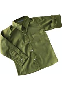 Camisa Militar Manga Longa Infantil Tricoline Verde