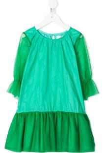 Touriste Vestido Com Recorte De Tule - Verde