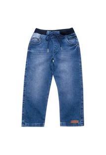 Calça Primeiros Passos Cata-Vento Com Cadarço No Cós Jeans Claro Cata-Vento Casual Azul