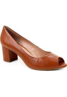 Peep Toe Couro Shoestock Basic Salto Bloco Medio - Feminino-Marrom