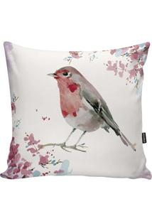 Capa Para Almofada Birds- Branca & Rosa Claro- 45X45Stm Home