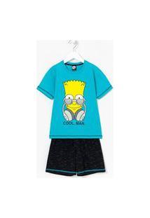 Pijama Infantil Curto Com Estampa Bart Simpson Cool Man