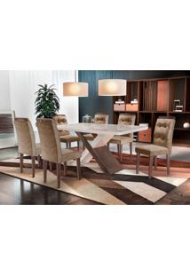 Conjunto De Mesa De Jantar Com Vidro E 6 Cadeiras Imperatriz Suede Chocolate E Off White