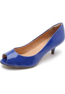 Peep Toe Polo London Club Verniz Azul