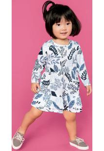 Vestido Bebê Menina Manga Longa Com Babados Hering Kids