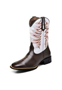 Bota Texana Fak Boots Cano Longo Bordado Branca