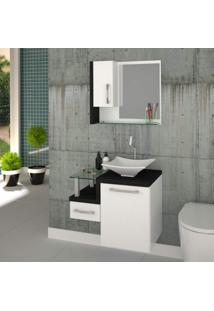 Gabinete Para Banheiro 1 Porta 1 Gaveta 1 Cuba Folha Lux E Espelheira Legno 630W Siena Móveis Branco C/Preto Onix