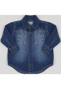 Camisa Jeans Infantil Com Bolsos Azul Claro