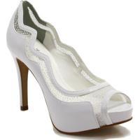 78f8b66536 Sapato Peep Toe Zariff Shoes Noivas Glitter - Feminino-Off White
