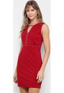 Vestido Lemise Tubinho Curto Apliques - Feminino-Vinho