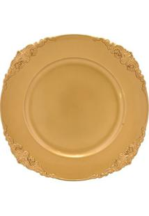 Sousplat Arabescos- Dourado- 1,5Xø32,5Cm- Premiemabruk
