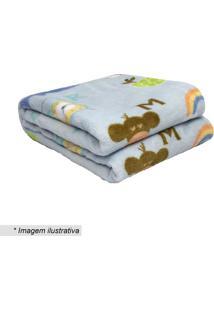 Cobertor Baby Abc- Azul Claro & Verde- 90X110Cm-Camesa