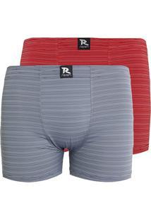 b241015e3 Kit Com 2 Cuecas Linha Noite Boxer Microfibra Vermelho   Cinza