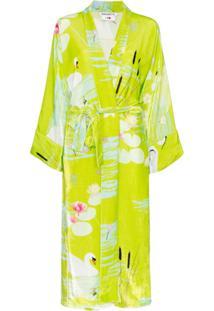 Bernadette Kimono Com Estampa E Cinto - Verde