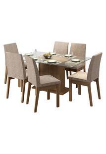 Sala De Jantar Madesa Melissa Mesa Tampo De Vidro Com 6 Cadeiras Marrom