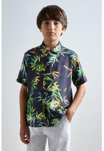 Camisa Mini Sm Petalas Infantil Reserva Mini Masculina - Masculino-Marinho