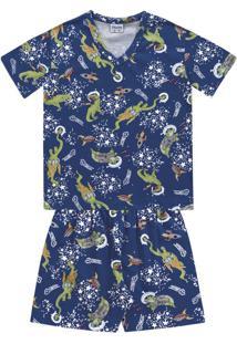 Conjunto Pijama Curto Estampado Dino Azul