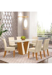 Conjunto De Mesa Com 6 Cadeiras Para Sala De Jantar Berlim-Henn - Nature / Off White / Linho