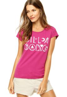 Blusa Billabong Baby Look Dot Rosa
