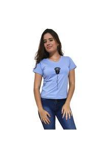 Camiseta Feminina Gola V Cellos Rose Premium Azul Claro