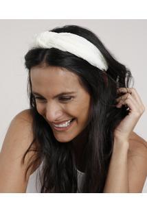 Tiara Feminina Texturizada Com Nó Off White