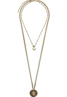 Alexander Mcqueen Gold Tone Double Chain Pearl Pendant Necklace - Metálico