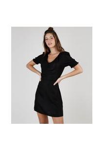 Vestido Feminino Curto Com Franzido Manga Bufante Preto