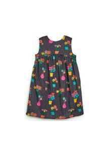 Vestido Infantil Rodado Fábula Em Algodão Com Forro Na Estampa Florista Est Florista Preto - 2