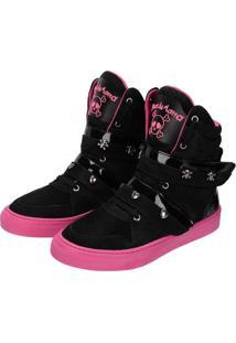Tênis Sneaker Cheia De Marra Preto Rosa