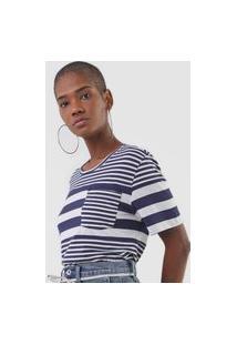 Camiseta Ellus Listrada Azul-Marinho