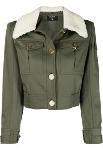 Balmain Structured-Shoulder Jacket - Verde