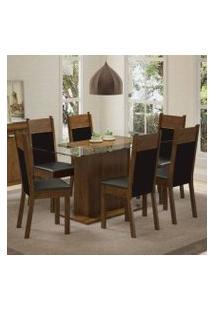 Conjunto Sala De Jantar Madesa Atlanta Mesa Tampo De Vidro Com 6 Cadeiras Rustic/Preto/Sintético Preto