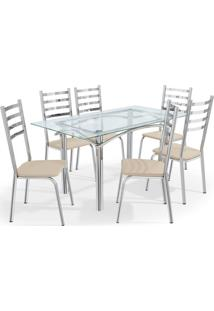 Conjunto Mesa Elba C/ 6 Cadeiras Alemanha Cromado/ Kappesberg Prata/Off-White - - Dafiti
