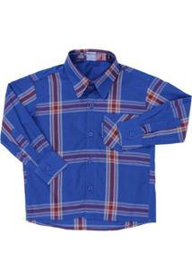 Camisa Manga Longa Infantil Rodeo Western Xadrez Masculina - Masculino-Azul