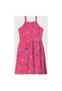 Vestido Rovitex Infantil Borboletas Rosa