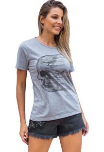 Camiseta Basica My T-Shirt Caveira Cidades Mescla - Cinza - Feminino - Algodã£O - Dafiti