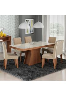 Conjunto De Mesa Para Sala De Jantar C/ Vidro Temperado E 6 Cadeiras Olivia/Milena - Cimol - Savana / Suede Bege