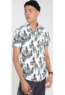 Camisa Masculina Estampada Tropical Com Caveira Manga Curta Off White