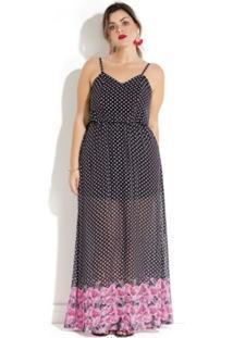 32da4cf88778 Vestido Plus Size Longo Poá E Floral Quintess - Feminino