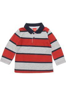 Camiseta Polo Kyly Menina Listrado Vermelho
