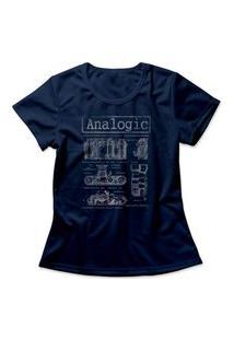 Camiseta Feminina Analog Camera Azul Marinho