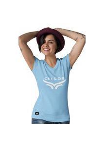 Camiseta Feminina Gola V Cellos Up Premium W Azul Claro